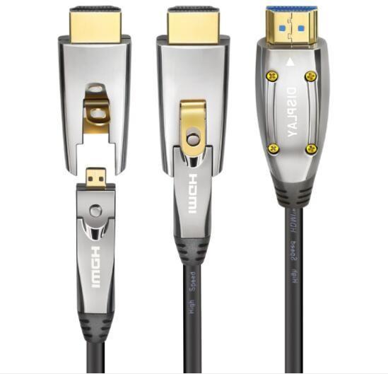 Black HDMI AOC Cable Active Optical Fiber HDMI Cable 2.1 8K easy to go through piples