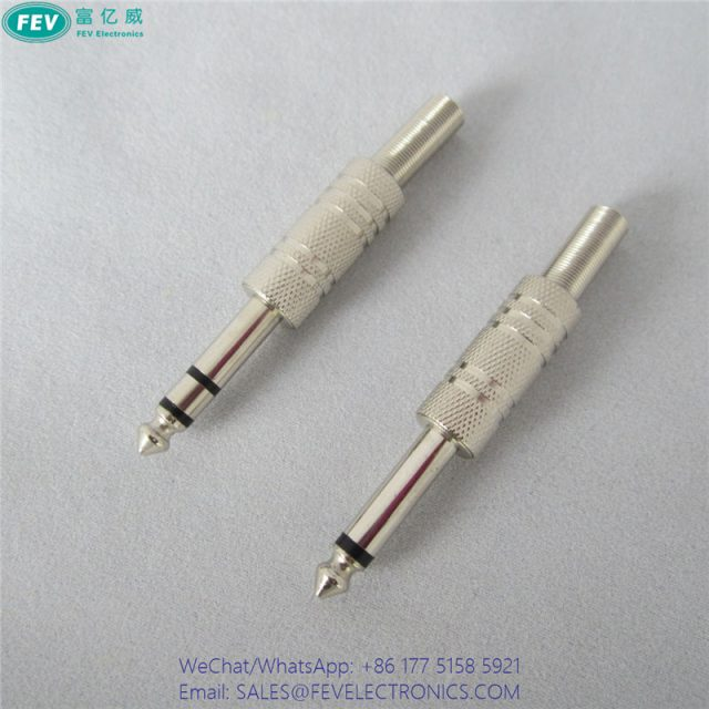 6.35mm stereo plug audio male connector with spring FEV-B341